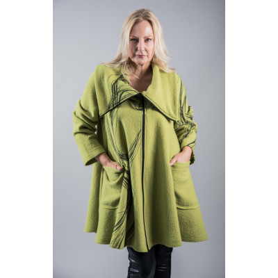 Ralston Casey Jacket in lime green is a swing coat with a large feature ring pull and a swirl print, available on colmershill.com