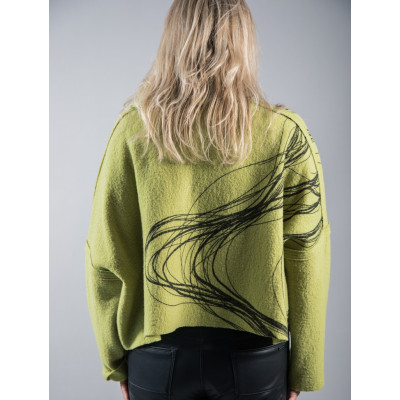Ralston Lime Mikos wool jacket with swirl pattern available on colmershill.com