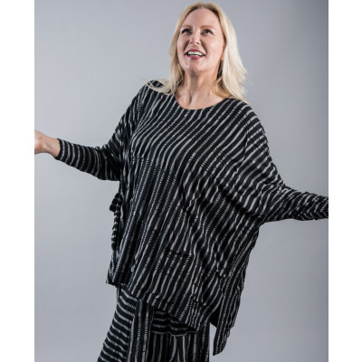 Ralston Dimiz oversized box Tunic in a soft jersey black & white striped available on colmershill.com