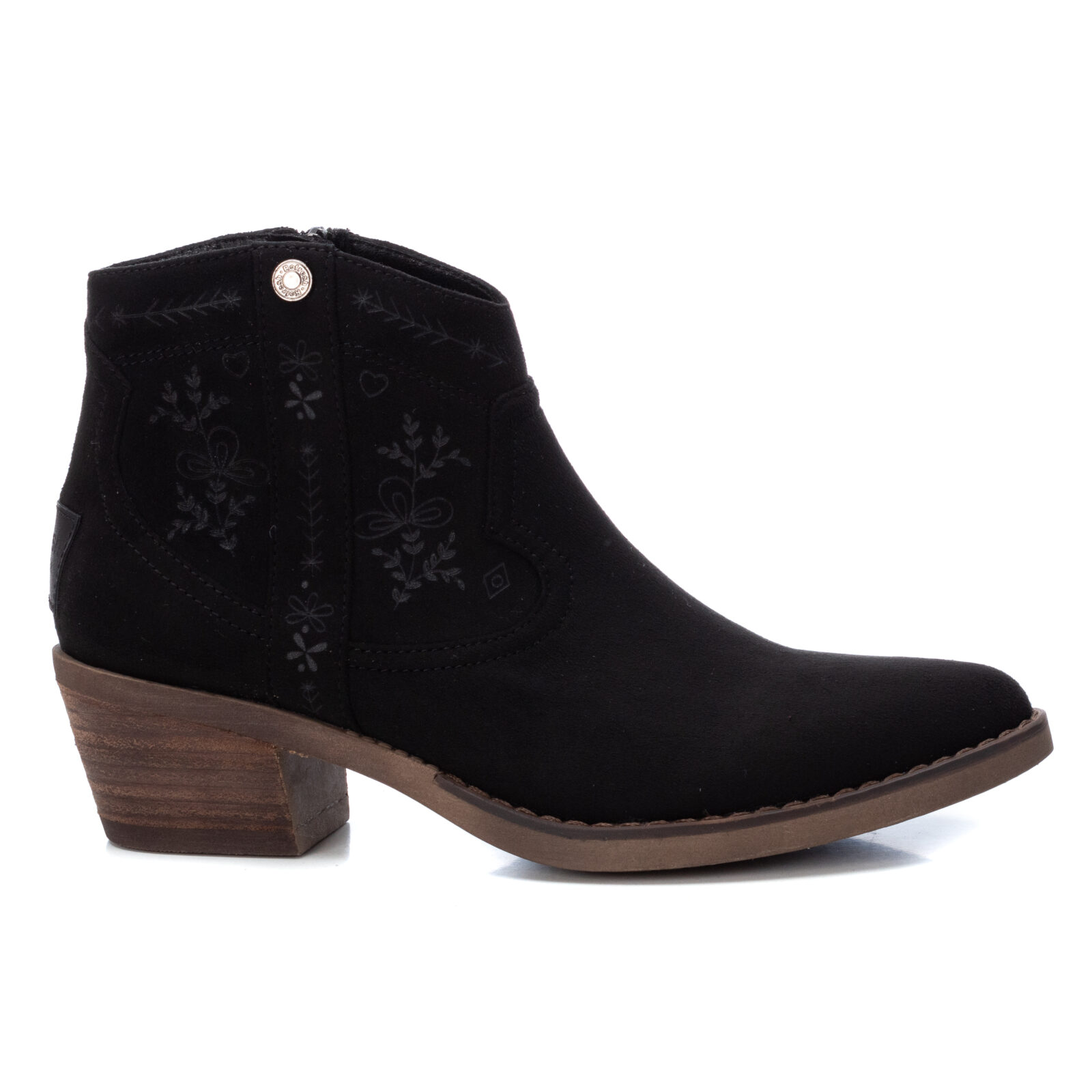 Refresh Ankle Boots in black in a cowboy boot style in a microfibre suede available on colmershill.com