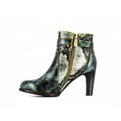 Laura Vita Acbaneo ankle boot has an 8cm heel with metallic blue and snakeskin contrasting upper. Stocked by colmershill.com