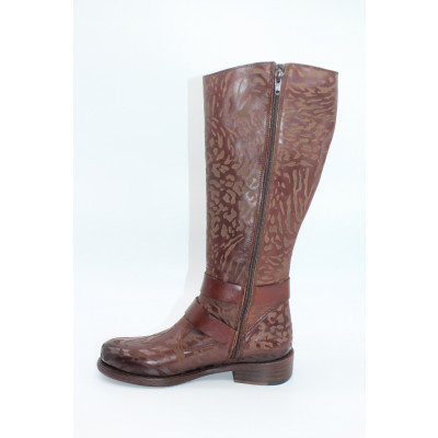 Felmini chocolate brown long textured leather boots are a limited edition available from colmershill.com