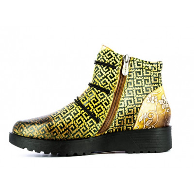 Laura Vita Idciro ankle boots in yellow printed leather available on colmershill.com