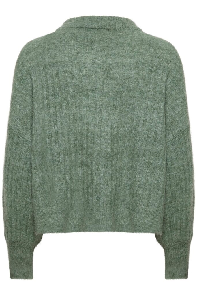 Soaked in Luxury Angel Rib V-neck Pullover in Hedge Green Melange available on colmershill.com