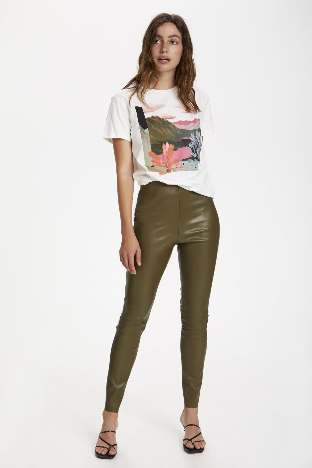 Soaked in Luxury Pleather Leggings Military Olive available on colmershill.com