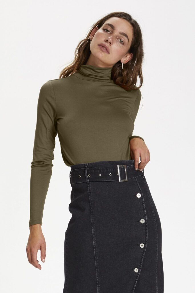 Soaked in Luxury Military Olive Hanadi Rollneck long sleeve top available on colmershill.com