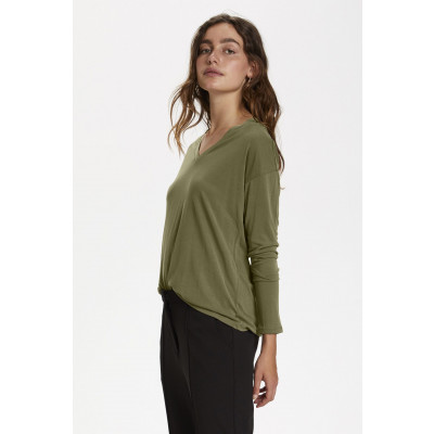 Soaked in Luxury Columbine long sleeve t-shirt with a v-neck in Military Olive available on colmershill.com