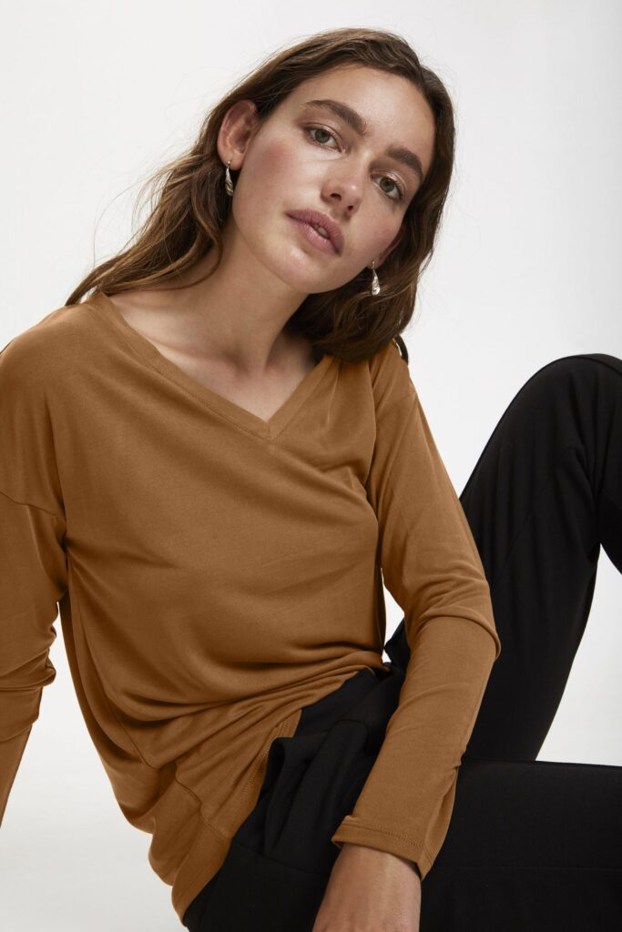 Soaked in Luxury Columbine long sleeve t-shirt with a v-neck in Sugar Almond (burnt orange) available on colmershill.com