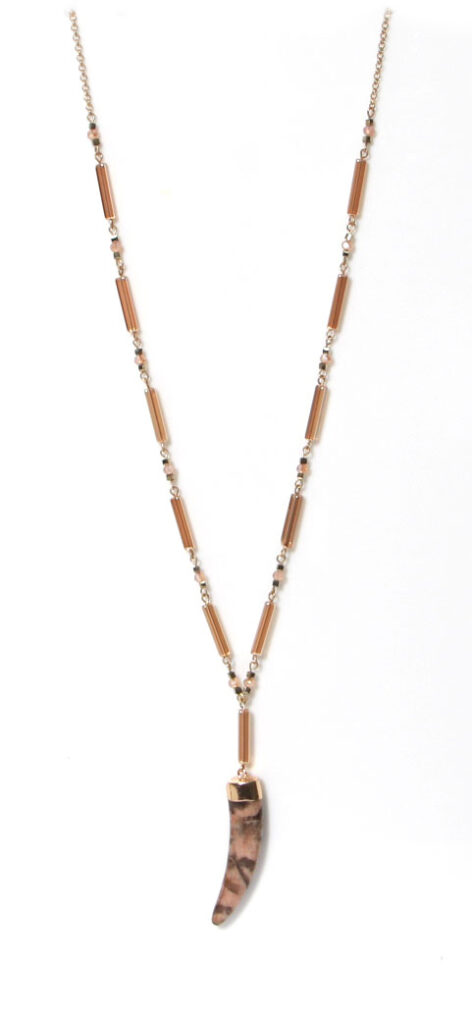 Envy Jewellery resin tooth necklace in gold available on colmershill.com