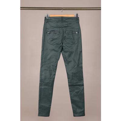 Melly & Co leather look jeans with 4 buttons and zip fastening in teal green available on colmershill.com