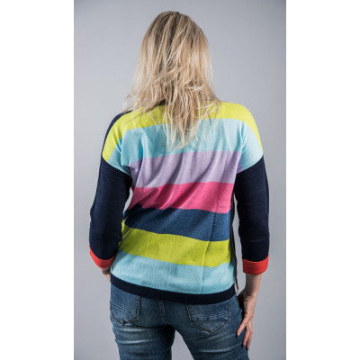 Foil Right on Hue navy jumper with a wide striped multicolour back, available from colmershill.com