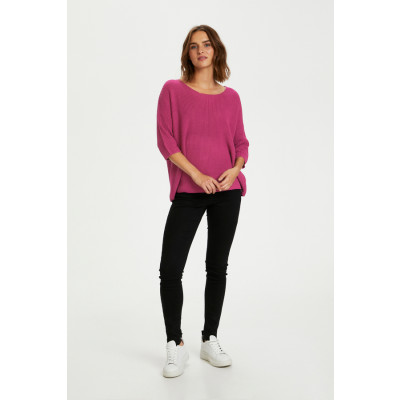 Soaked in Luxury Tuesday Sweater in cotton mix available in a boysenberry pink colour on colmershill.com