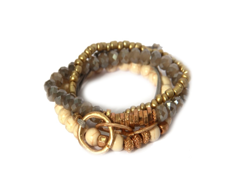 Envy Jewellery multi-strand bead bracelet in stone, grey and gold available on colmershill.com
