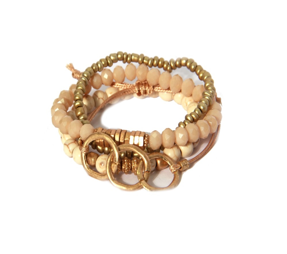 Envy Jewellery multi-strand beaded bracelet in stone, gold and soft pink available on colmershill.com