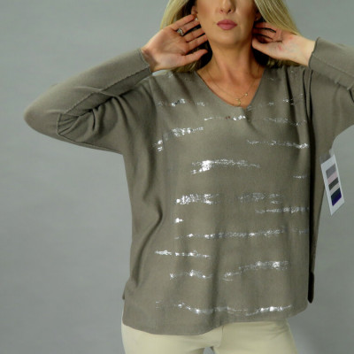 DECK by Decollage thin knitted jumper with silver streaks across available in pale pink and taupe on colmershill.com