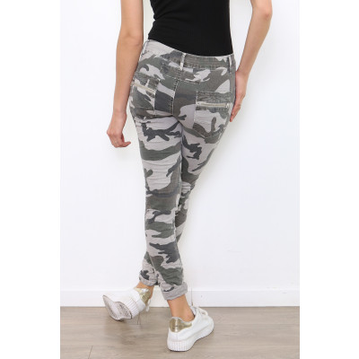 Melly & Co 4 button & zip jeans in a grey camouflage print available on colmershill.com