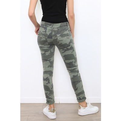 Melly & Co 4 button & zip jeans in a khaki camouflage print available on colmershill.com