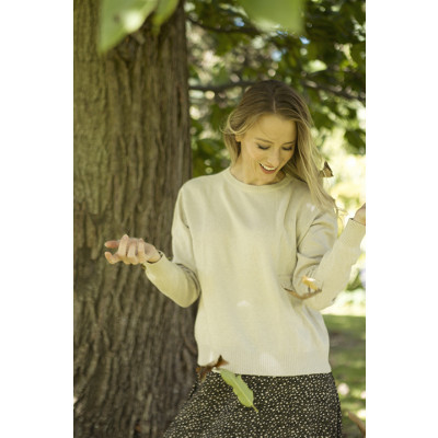 Luella Penny Sweater is a plain cashmere knit which we have available in stone grey, blush pink and winter white available on colmershill.com