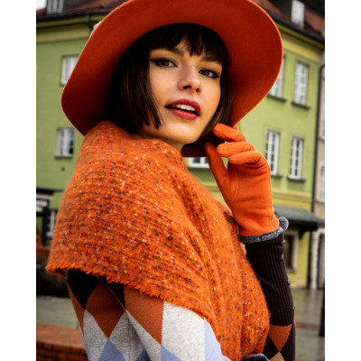 Powder Sandie Scarf is a beautiful tangerine orange colour with a long fringe and is super snug. Makes a great gift or present for yourself. Available on colmershill.com