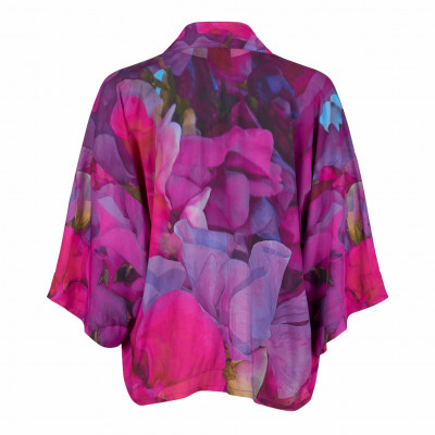 From My Mother's Garden Kimono in the exclusive Sweet Pea print in pinks and mauves available on colmershill.com