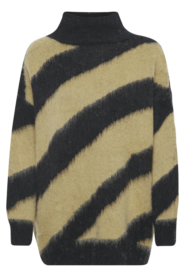 Soaked in Luxury Feline diagonal striped jumper in black and butterscotch available on colmershill.com