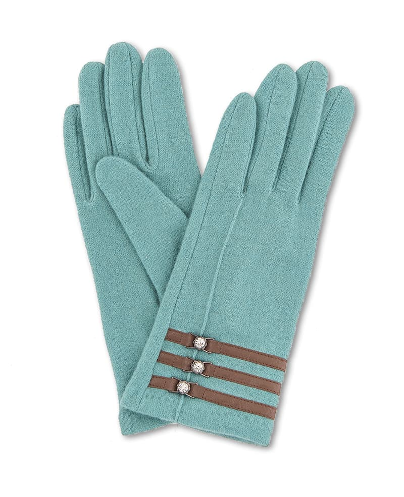 Powder Suzy Wool Gloves come in sea green, blue and lime green. They have faux leather and diamante embellishment and are available on colmershill.com