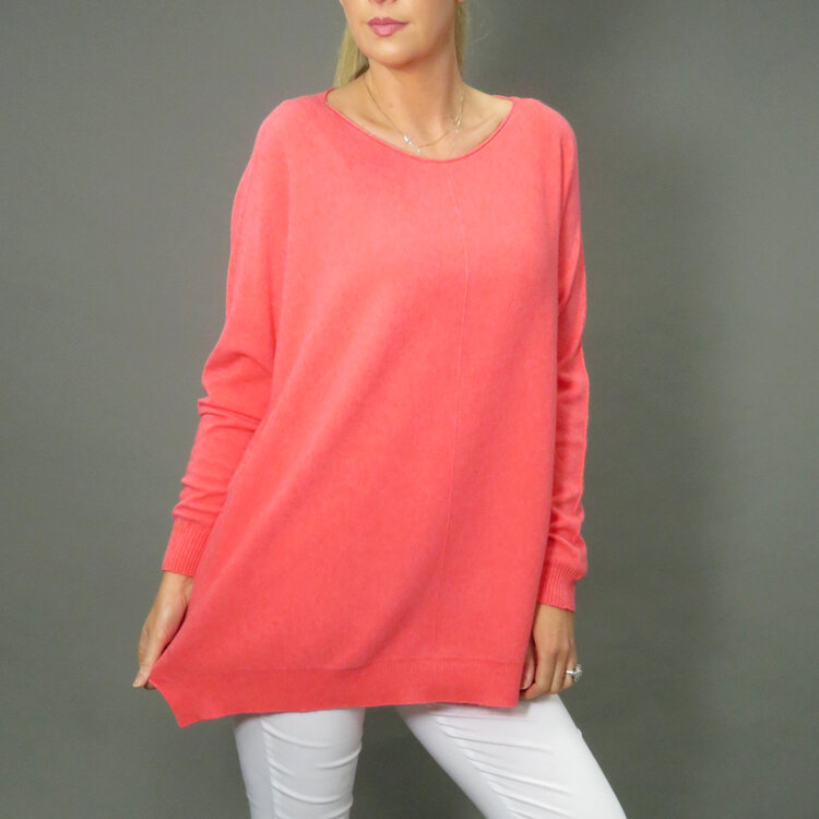 DECK by Decollage wide fit long jumper in coral, pearl grey and fuschia pink available on colmershill.com