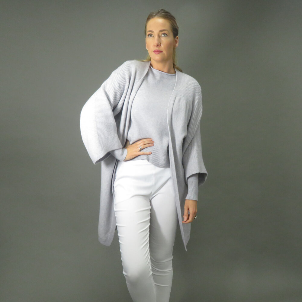DECK by Decollage Long Silver Grey Cardigan with wide 3/4 length sleeves available on colmershill.com