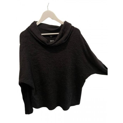 Elsewhere Loose Fit Soft Ribbed Top Black